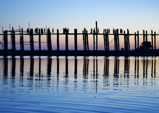 U Bein Bridge in sunset, Amarapura, Mandalay, Burma