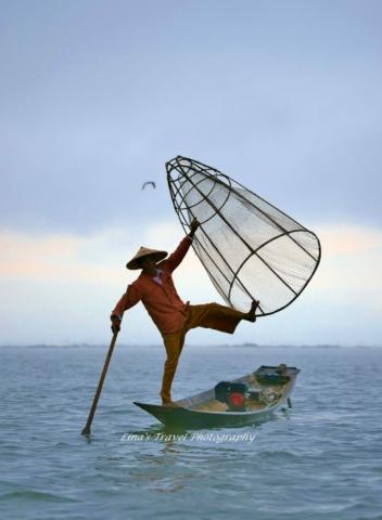 Single foot fishing by Intha Ethnic People, Inle Lake, Nyuang Shwe, Burma (Myanmar)