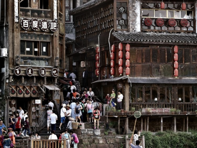 A new busy day has just started, Fenghuang Ancient Town, Hunan, China