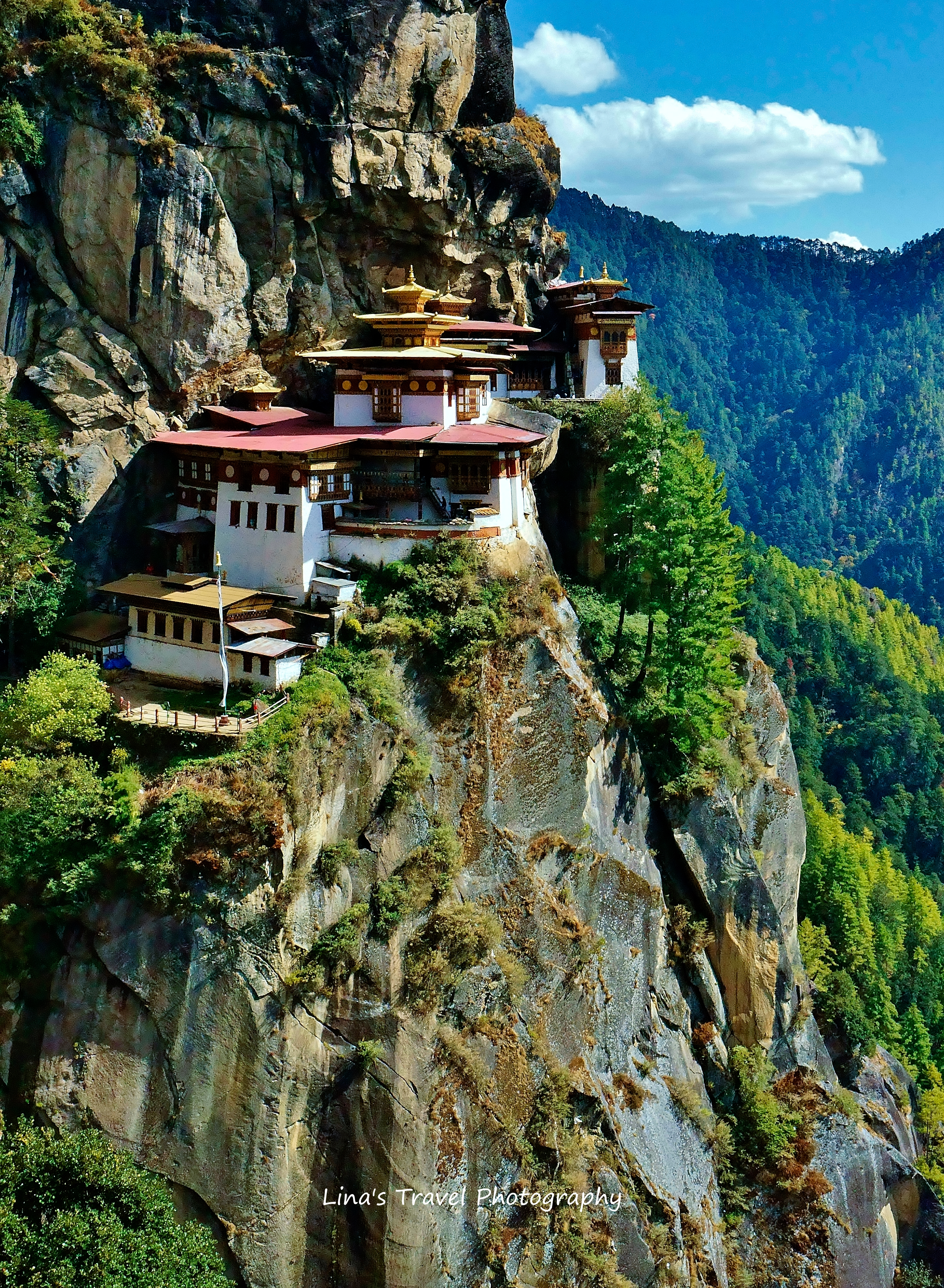 Tiger's Nest, Bhutan's most famous monastery and World's magical architecture masterpiece, hanging on high mountain cliff, almost 3000 meter over sea level.