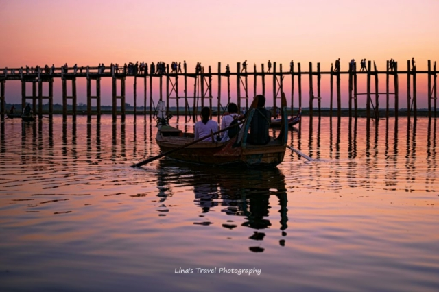 U Bein Bridge with its visitors in sunset, Amarapura, Mandalay, Burma (Myanmar)