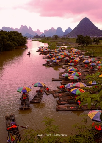 Sunrise at Yulong River, better known as little Li River by locals, Yangshuo, Guangxi, China
