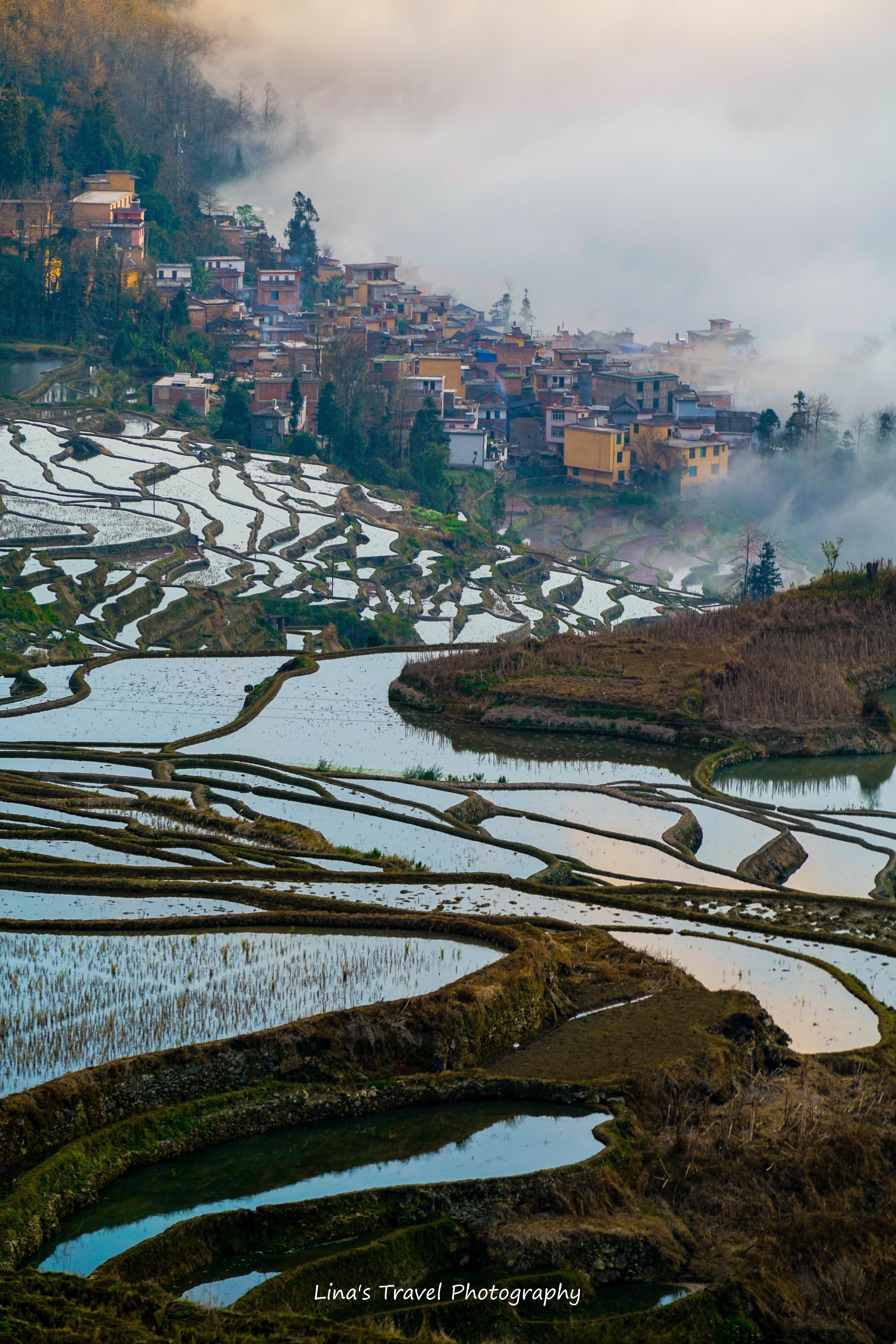 Village at Duoyishu a misty morning in sunset, Yuanyang, Yunnan, China