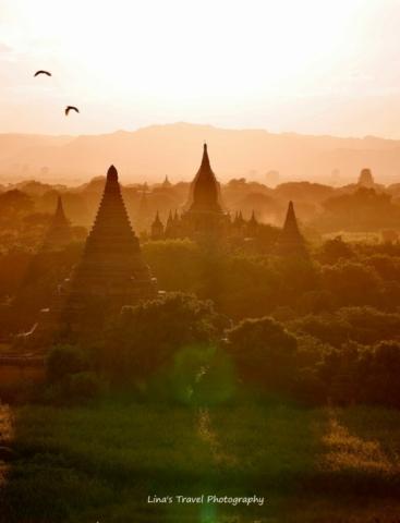 Sunset view from pagoda Shwesandow, Old Bagan, Burma (Myanmar)