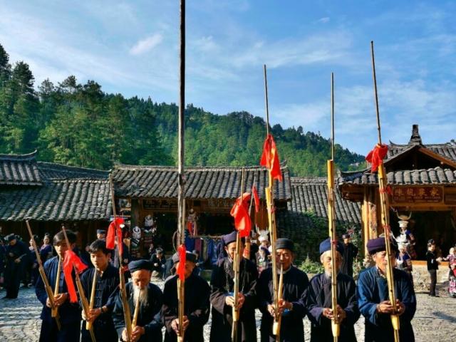 Miao Ethnic People Dance, Langde Upper Village, Xijiang, Guizhou, China