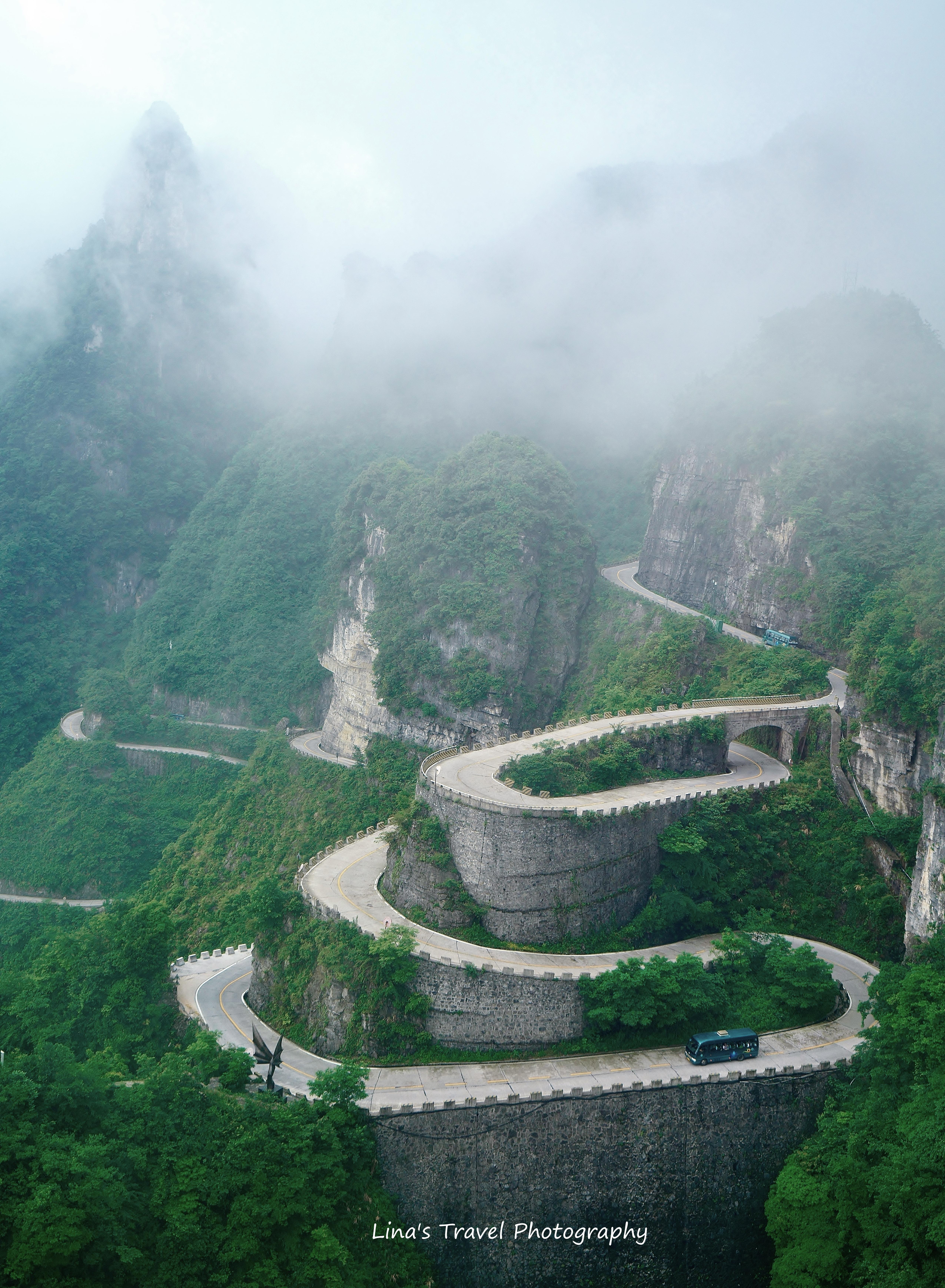 99 Bends to and from Heaven's Gate, Tianmen Mountain, Zhangjiajie, Hunan, China