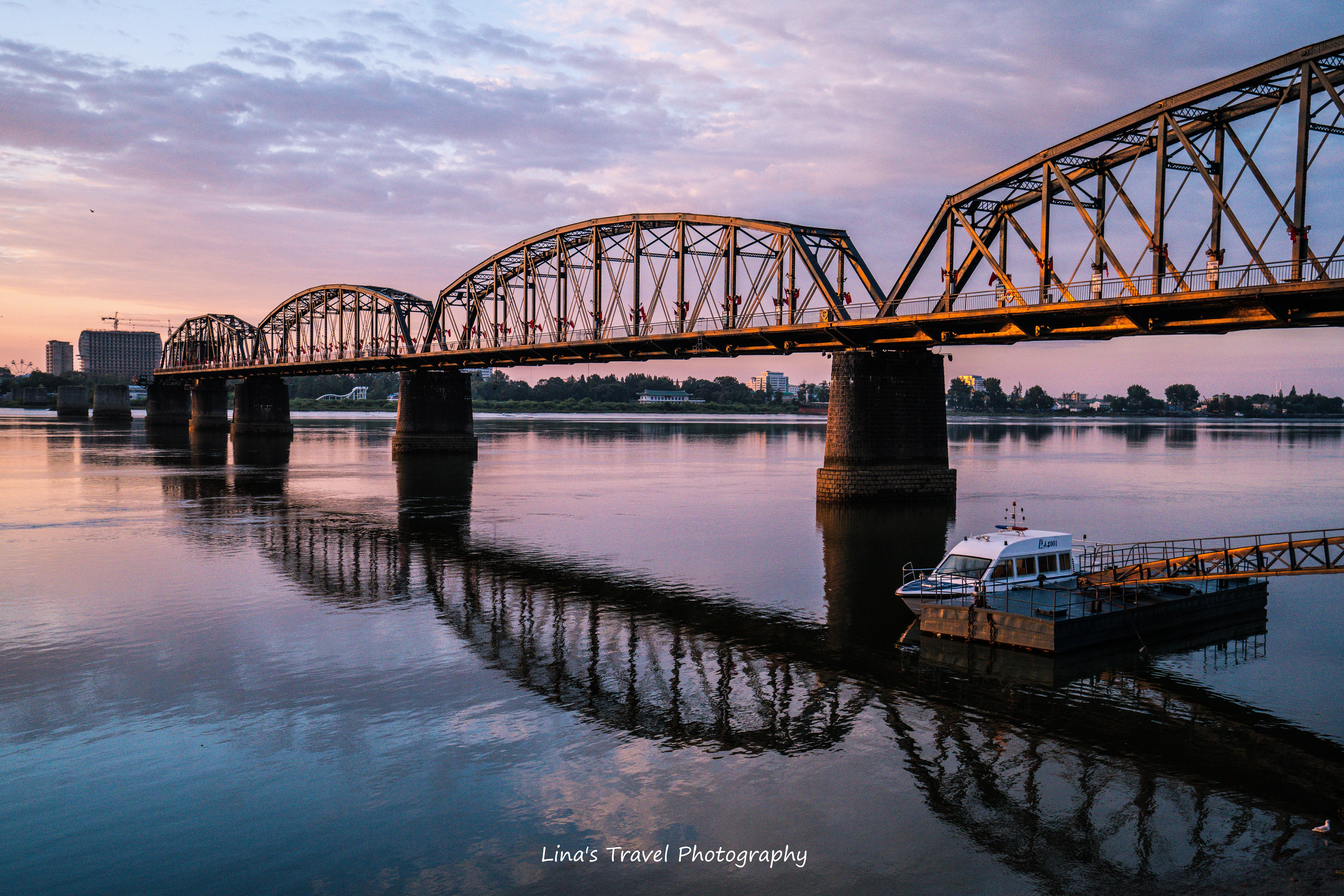 At borderline, Broken Bridge over Yalu River, Dandong, Liaoning, China//Xinuiju, North Korea (DPRK)