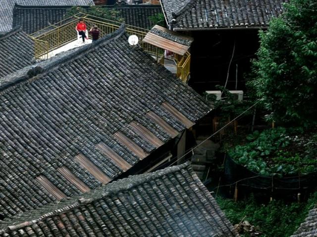 Roof view over Miao Ethnic People Village, Xijiang, Guizhou, China