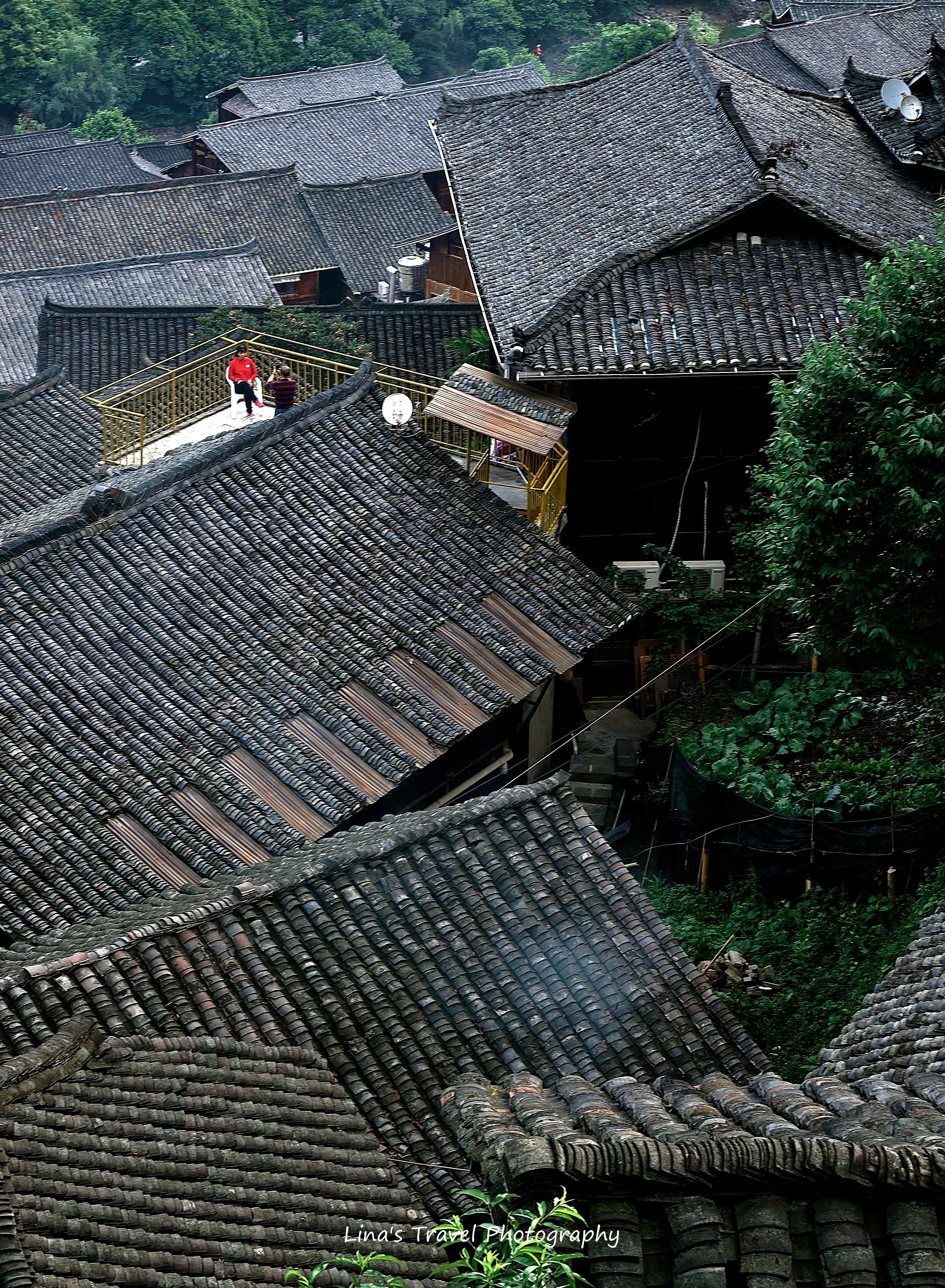 Roof view over Miao Ethnic People Village, Xijiang, Guizhou, China